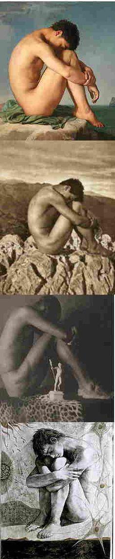 Evolución de un icono: Jean Hippolyte Flandrin (1809-1864) fue un pintor neoclásico. El fotógrafo Wilhelm von Gloeden .  Ébano y Marfil (1897) por Fred Holland Day . Ajitto por Robert Mapplethorpe