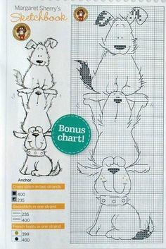 Закладка для книг своими руками, схема вышивки собак