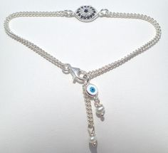 Evil Eye Bracelet with  Pearl Accents Silver or Gold  by JaBellaJewels, $68.00