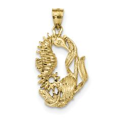 14k Polished Diamond-cut Seahorse with Shell Pendant