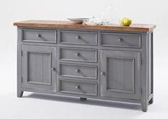 Sideboard Landhausstil Byron Massivholz Grau 20574. Buy now at https://www.moebel-wohnbar.de/sideboard-landhausstil-byron-massivholz-grau-20574.html