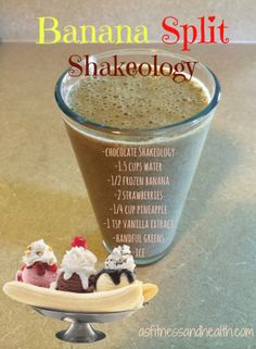 Try this Banana Split Shakeology recipe! So delicious, a take on the classic ice cream mix, but healthy! My toddler approved it with flying colors! http://www.thefitandfreemama.com/recipes.html