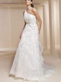 Single Strap Organza and Satin Empire Waist Wedding Dress