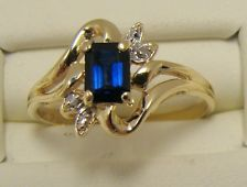 10K YELLOW GOLD LAB CREATED BLUE SAPPHIRE RING DIAMOND ACCENT SIZE 6.5 SCROLL