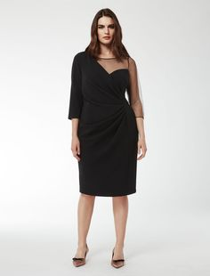 Marina Rinaldi DELICATO noir: Robe avec drapé asymétrique.