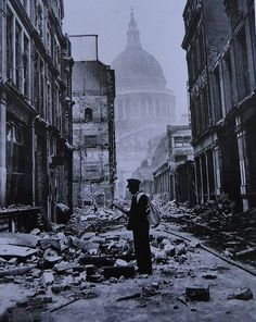 The London Blitz. Still standing after endless German bombings, St. Paul's remained a beacon of hope, miracle and wonder in the dark days of WWII.