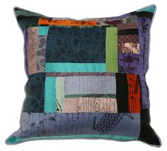 patchwork hand printed silk pillow by Laura Goldstein