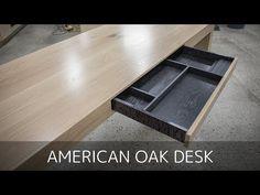 American White Oak Office Desk - Build video by Pedulla Studio Office Boards, Office Desk, Oak Desk, White Oak, Interior Design Kitchen, Woodworking, Shelves, Studio, American