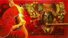 Size: 60x33 In Medium: Acrylic Color Surface: Canvas Krishna Painting, Krishna Art, Radhe Krishna, Religious Paintings, Thing 1, Indian Artist, Indian Paintings, Oil Paintings, Buy Art Online