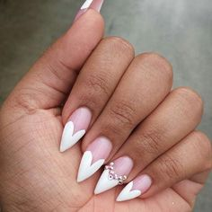 White Heart Tip Stiletto Nails