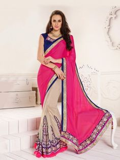 Pink And Cream Shimmer Georgette Saree With Resham Embroidery Work