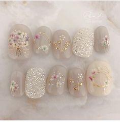 Stylish Nails, Trendy Nails, Get Nails, Hair And Nails, Heavenly Nails, Asian Nails, Japanese Nail Design, Vintage Nails, Nail Jewels