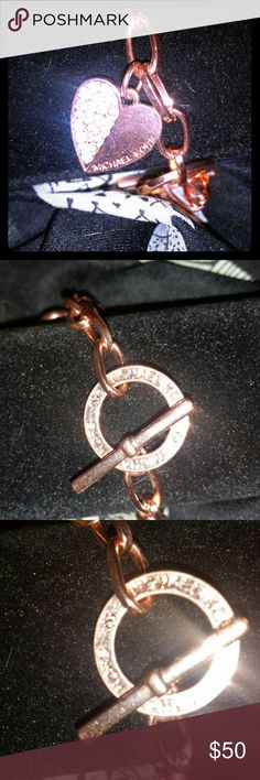 Rose gold Michael Kors bracelet Rose gold one heart with Michael Kors and toggle clasp with Michael Kors on ring bracelet Michael Kors Jewelry Bracelets