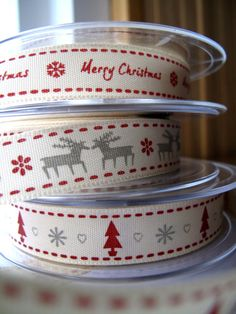 Ribbon Trims Merry Christmas Mix  x6metres 2 of each in by BigFish, £4.40