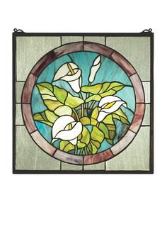 20 Inch W X 20 Inch H Calla Lily Stained Glass Window