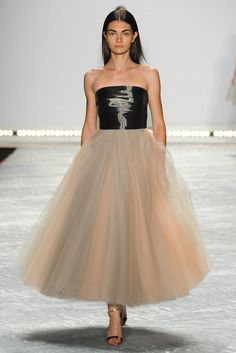Noir Liquid Satin Strapless Bodice And Ombre Tulle Dress by Monique Lhuillier for Preorder on Moda Operandi