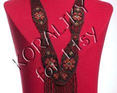 Black /Brown /Gold. Traditional Ukrainian Folk por koraliky en Etsy