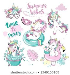 A beautiful summer unicorn collection on a white background Tropical Girl, Unicorn Drawing, En Stock, Summer Vibes, Toddler Girl, Beautiful, Kids Fashion, Doodles, Clip Art