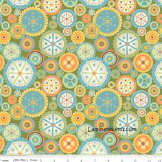 LAMINATED+cotton+fabric+Green+Gears+aka+oilcloth+by+Laminates,+$12.95
