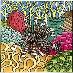 Lionfish: Handcoloured linocut; Edition of 30; 30 x 30 cm on heavyweight paper. Also available as a 20x20 Giclee print.