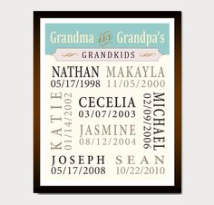 Personalized GRANDPARENTS GIFT Grandma Grandpa Gift // Christmas Gift // Ivory Seafoam // 8 x 10 // Birthday Anniversary Gift Guide. $21.00, via Etsy.