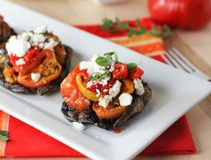Stuffed Portobello Mushrooms with Roasted Tomatoes, Peppers and Feta Cheese