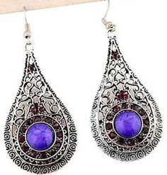 Crystal - Classical Hot Purple Tibetian Silver Hook Earrings for sale in Cape Town (ID:158305724)