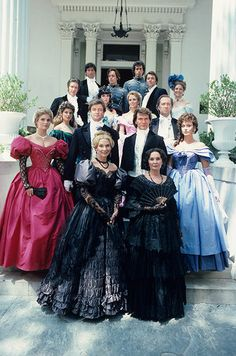 """""""North and South"""" Cast photo, North and South (1985) this looks like it was taken on the front steps of Stanton hall even though I think Boone Hall near Charlston was used as the exterior of the Main Plantation with S.Hall used for the interiors scenes'"""