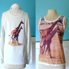 Vintage Giraffe Shirt Jacket Set 1970s Disco Novelty