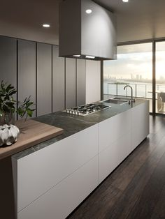 Monolite By scic, fitted kitchen without handles, design Collection