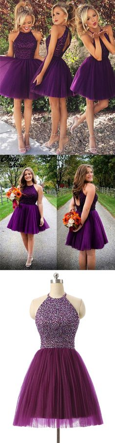 Purple homecoming party gowns, cheap open back fashion gowns, short fall homecoming party dresses.
