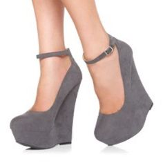 """Grey wedges with ankle strap size 7.5 (brand new) - Faux suede wedges with a platform and ankle strap - 6.25"""" approx. back heel height  - 1.75"""" approx. platform  - Synthetic suede-like fabric - Textile sole I bought online awhile ago but they are just too tall for me, never got a chance to return them & they are no longer available to exchange/return.  Pet and smoke free home. Make an offer & check out my other listings for bundles. JustFab Shoes"""