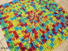 """Arco iris Tie Dye camiseta hilado alfombra-Square - único en su clase. 22 1/2 """"por 22 1/2"""" - C128"""