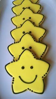 Smiley Face Star sugar cookies: Stars Cookies, Happy Stars, Stars Sugar Cookies,