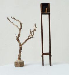 Mini-bibliothèque en bois vernis contenant un mini-livre relié avec soin, dont la dimension est 2cm sur 2.5cm.  A côté, pour donner une idée de l'échelle, une branche... de thym.