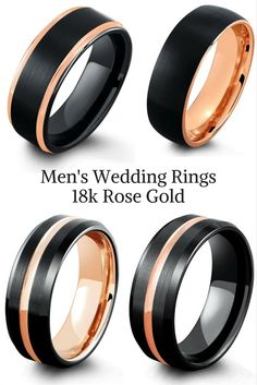 Mens black tungsten wedding rings with rose gold. I love the combination of . - Mens black tungsten wedding rings with rose gold. I love the combination of these modern and cl - Wedding Rings Simple, Wedding Rings Rose Gold, Wedding Rings Vintage, Wedding Jewelry, Bridal Rings, Wedding Band Sets, Wedding Men, Dream Wedding, Wedding Ideas