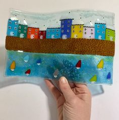 Your place to buy and sell all things handmade Sea Glass Art, Fused Glass, Glass Vase, Seaside Art, Coastal Art, Glass Boat, Glass Fusion Ideas, Glass Fusing Projects, Stained Glass Crafts