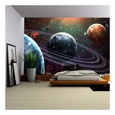 wall26 - Universe scene with planets, stars and galaxies in outer space showing the beauty of space exploration. - Removable Wall Mural | Self-adhesive Large Wallpaper - 100x144 inches Blue Galaxy Wallpaper, Wallpaper Space, Vinyl Wallpaper, Unique Wallpaper, Large Wall Murals, Removable Wall Murals, Bedroom Murals, Bedroom Themes, Outer Space Bedroom