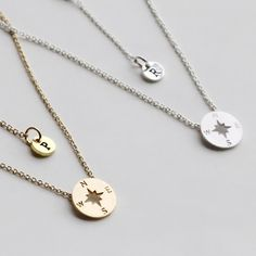 Compass Necklace, Personalized initial christmas gift, Graduation Friendship Necklace, Best Friends, BFF Gift, sister, Journey Necklace  ----3cm