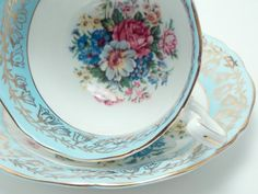 Adderley Vintage Fine Bone China Tea Cup and Saucer Large Bouquet Mixed Floral Flower Blue Band Gold Flowers Trim