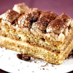 - Piece of a Tiramisu Cream Cake with Cocoa Powder on Top! - TAG a Cake Lover! by cakemenu pinned by Mak Khalaf