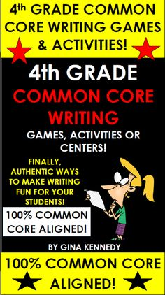 4TH GRADE COMMON CORE WRITING GAMES, ACTIVITIES & MORE! Finally, a fun way to prepare students for your 4th Grade Writing achievement test without endless practice prompts. 100% ALIGNED to the 4th Grade Common Core Standards! From developing a closing argument to writing the perfect introductory paragraph, these activities and games will bring new life to your writing instruction! Also excellent for writing camps!