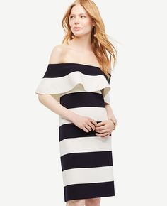 Shop Ann Taylor for effortless style and everyday elegance. Our Stripe Off The Shoulder Sheath Sweater Dress is the perfect piece to add to your closet.