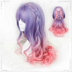 Tips: *Please double check above size and consider your measurements be Purple gradient pink lolita curly wig Anime Wigs, Anime Hair, Kawaii Hairstyles, Trendy Hairstyles, Black Hairstyles, Pastel Wig, Kawaii Wigs, Mode Lolita, Long Curls