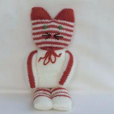 Doudou chat en laine, cadeau bébé enfant, fille   garçon, tricoté main,  jouet, cadeau, anniversaire, noël 7fe24a0f3e3