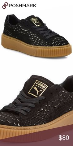 """Fenty Puma Creepers - Black Suede with Gold Sz. 8 Perfect Condition and like new!  Size 8 Fenty Puma Creepers designed by Rihanna.  Super comfortable and seen on every celebrity :D  Here's the description from Neiman Marcus:  Puma snake-embossed suede sneaker. 1.3"""" flat heel. Round toe. Lace-up front. Low-top silhouette. Rubber outsole. Puma Shoes Sneakers"""