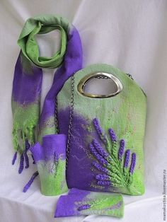 """Шали, палантины ручной работы. Ярмарка Мастеров - ручная работа. Купить Комплект """" Лаванда"""". Handmade. Фиолетовый, перчатки"""