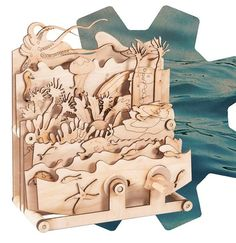 Timberkits Ocean Motion Self-Assembly Wooden Construction Moving Model Kit Underwater Creatures, Sustainable Forestry, Art Forms, Lion Sculpture, House Ideas, Scene, Construction, Kit, Statue