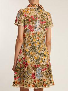 REDValentino Embroidered floral-mesh ruffle hem dress
