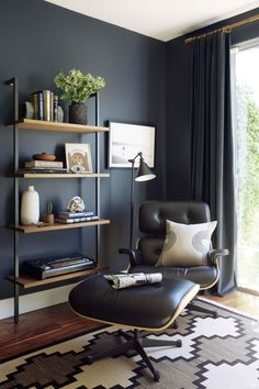 Wondrous Blue Gray Home Office If You Need Me Dark Gray Home Office Matt Gray Home Office. Gray Home Office. Grey Paint Home Office. Dark Gray Home Office. Gray Home Office Furniture. Office Interior Design, Home Office Decor, Office Designs, Masculine Office Decor, Bedroom Office, Modern Office Decor, Masculine Interior, Masculine Room, Home Office Colors